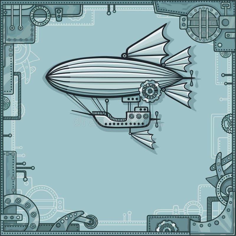 Fantastisk luftskepp En bakgrund - en ram från metalldetaljer, järnmekanismen vektor illustrationer