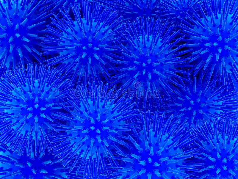 Fantastisk mörk - blåa sfäriska blommor - Illustation 3d tolkning royaltyfria foton