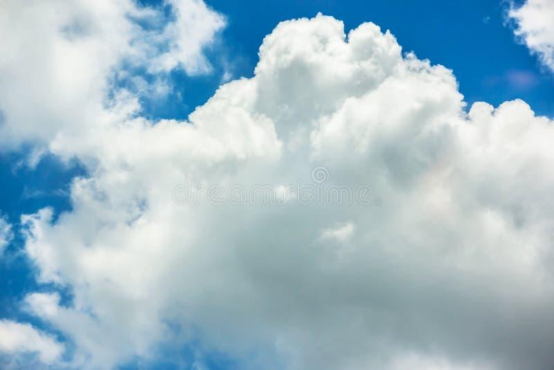 Fantastisk mjuk vit f?rdunklar mot bakgrund f?r bl? himmel royaltyfri bild