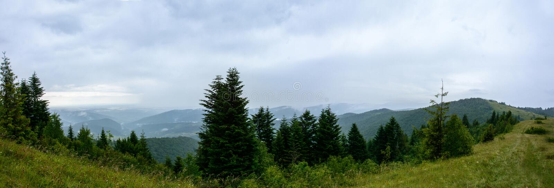 Fantastisk panorama på berget Yavorinka i Carpathiansna under regnet arkivbild