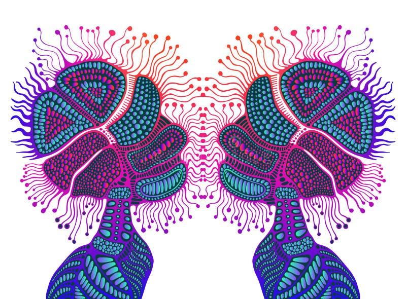 Fantastisk psykedelisk abstrakt shamanic prydnad, lutningneonfärg, isolerad vit bakgrund Bohemisk beståndsdel för fantasi vektor royaltyfri illustrationer