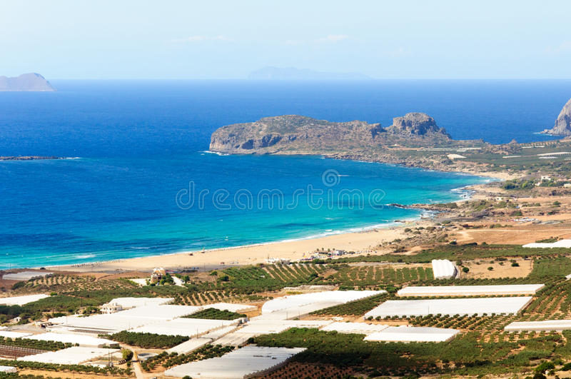 Fantastisk sikt över fjärden av Falassarna, Kretaö, Grekland arkivfoton