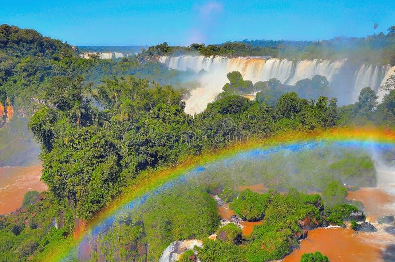 Fantastisk sikt av Iguazu Falls arkivbilder