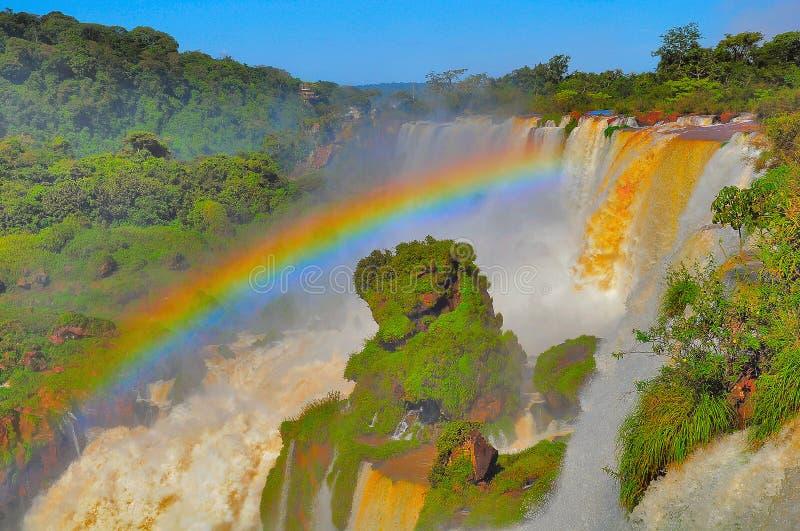 Fantastisk sikt av Iguazu Falls fotografering för bildbyråer