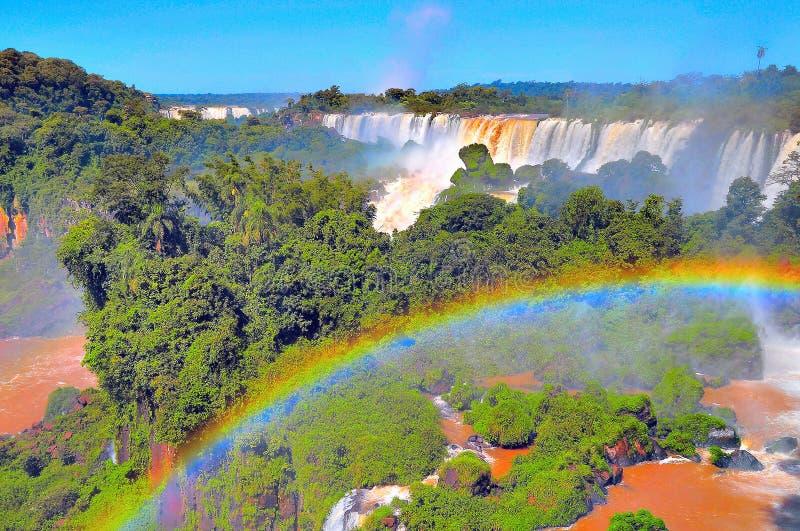 Fantastisk sikt av Iguazu Falls arkivbild