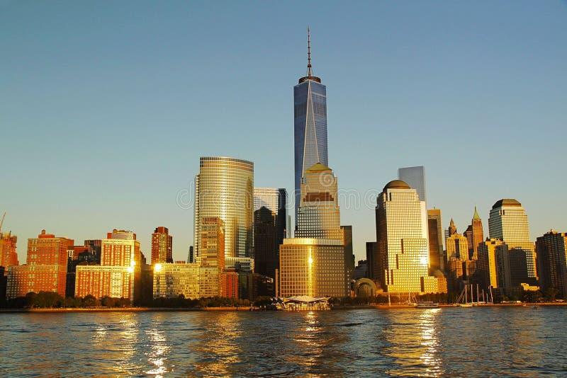 Fantastisk sikt av Manhattan New York horisont USA arkivbild