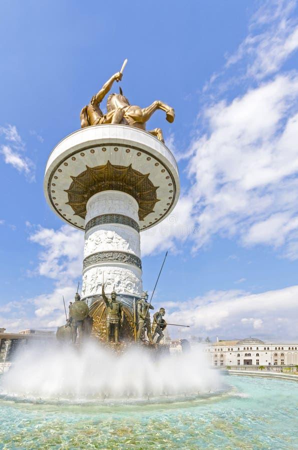 Fantastisk sikt av monumentet av Alexander storen, Skopje, Makedonien arkivbilder