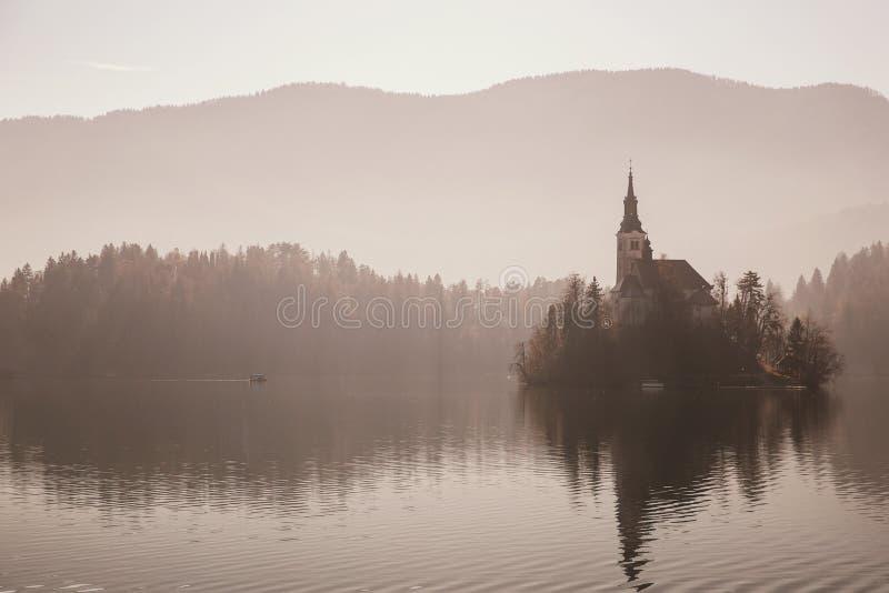 Fantastisk sikt på Bled sjön i dimma, Slovenien royaltyfri foto