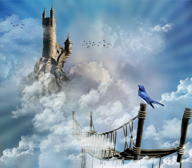 fantastisk sky för slott royaltyfri illustrationer