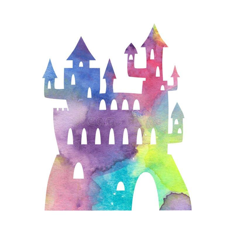 Fantastisk slottkontur med vattenfärgtextur på vit bakgrund Prinsessaslott med torn och fästningen vektor illustrationer