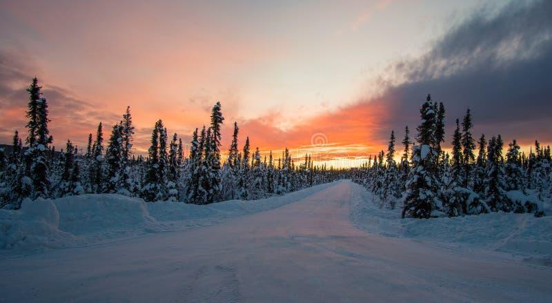 Fantastisk solnedgång från Fairbanks Alaska royaltyfri bild