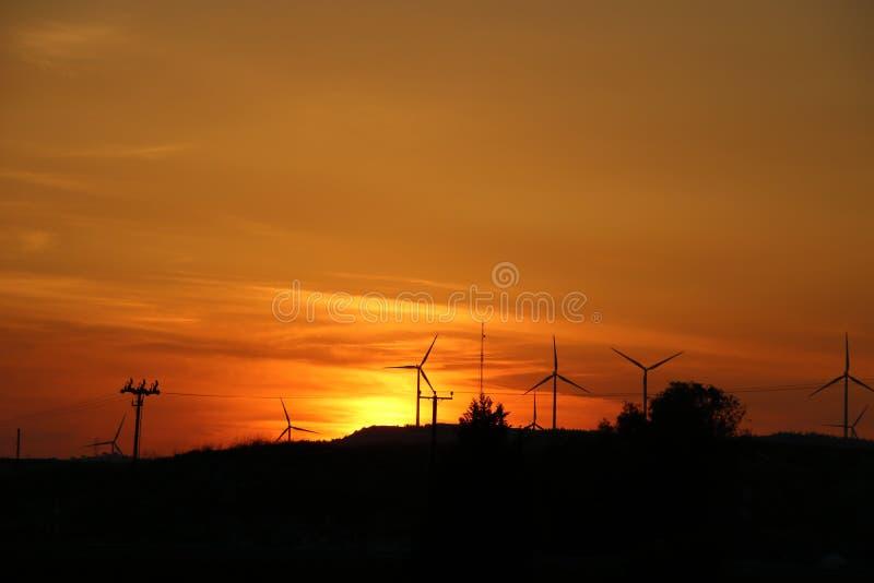 Fantastisk solnedgång i härliga Cypern fotografering för bildbyråer