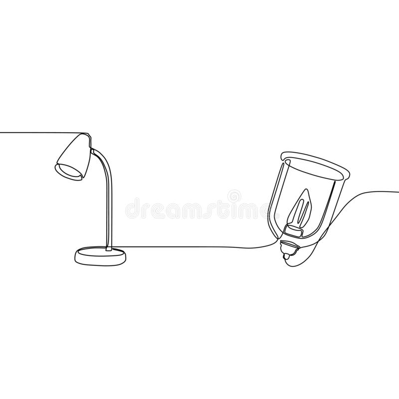 FANTASTISK STÅENDE LAMP- OCH för stearinljuslampa EN LINJE FORTLÖPANDE LINJE DEKORATIV GOLVLAMPA som STÅR TÄNDA stock illustrationer