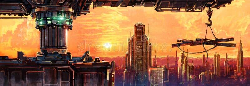 Fantastisk stad av framtiden vektor illustrationer