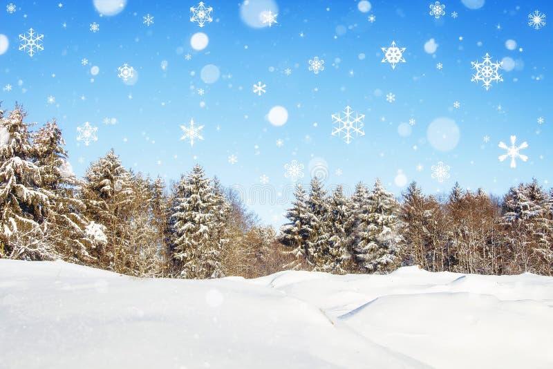 Fantastisk vinterskog i snö med fallande snöflingor saga för tabell för julpepparkakamän Bakgrund av jul och det nya året arkivbild