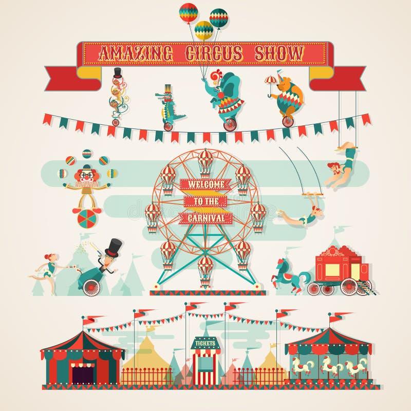 Fantastiska cirkusshowbeståndsdelar royaltyfria foton