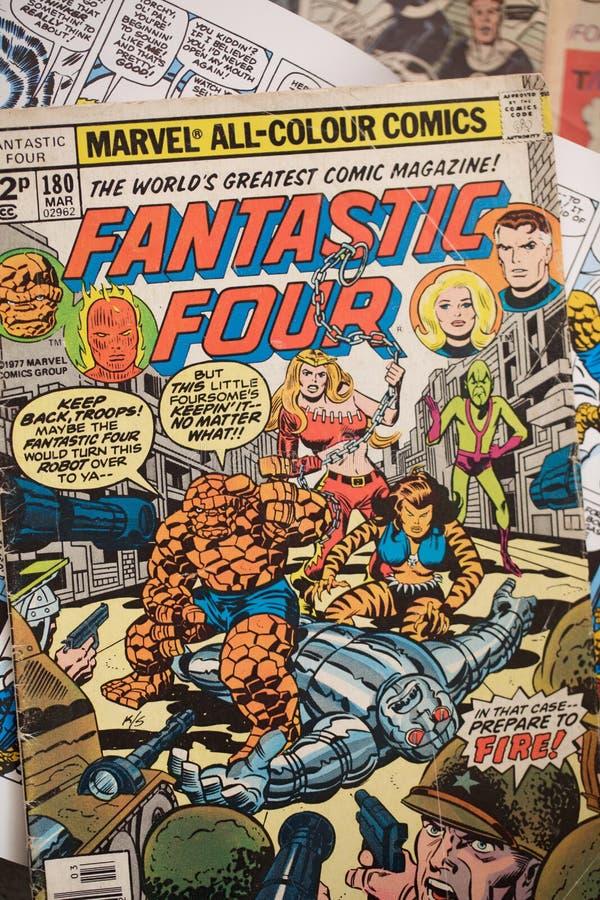 Fantastiska fyra humorbokräkningar publicerade vid Marvel komiker royaltyfria bilder