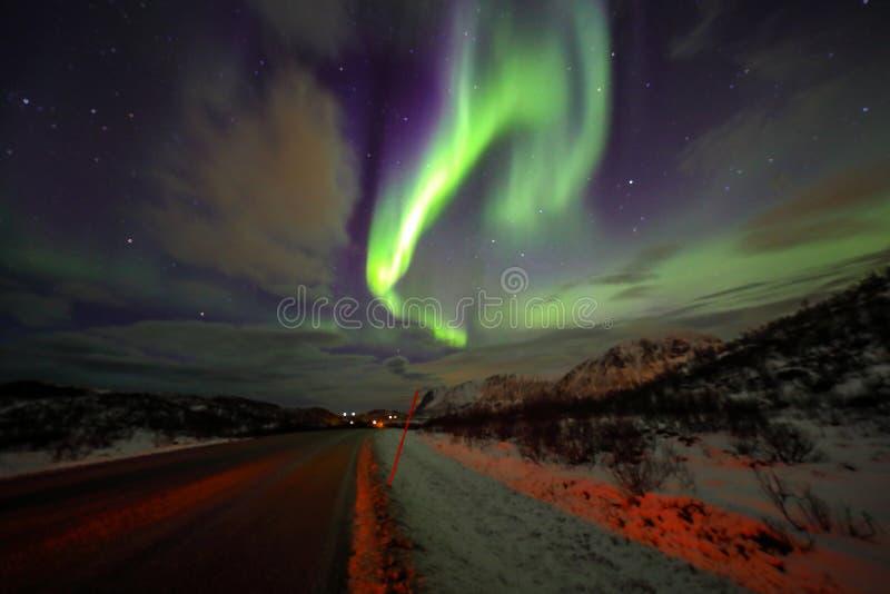 Fantastiska mångfärgade Aurora Borealis vet också som nordliga ljus i natthimlen över det Lofoten landskapet, Norge, Skandinavien royaltyfri fotografi