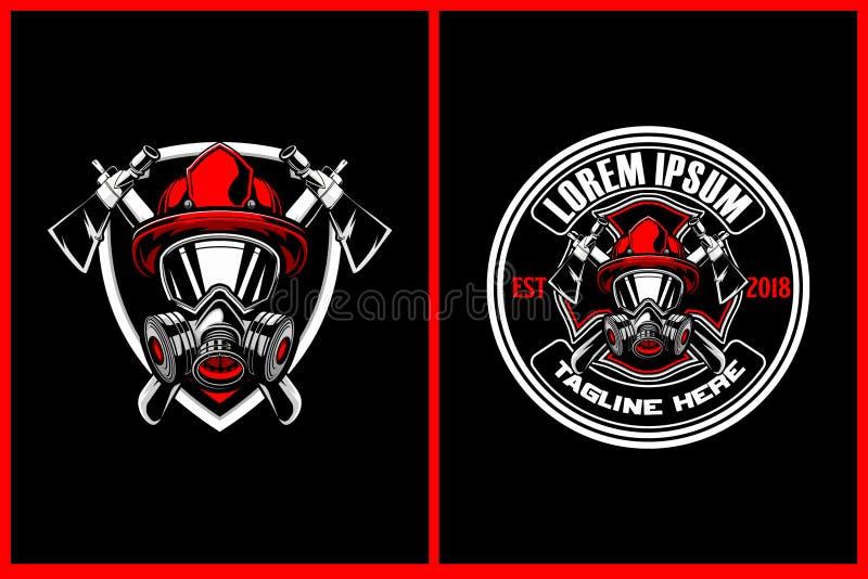 Fantastiska och enorma brandmän med mallen för logo för yxa- och sköldvektorvapen vektor illustrationer