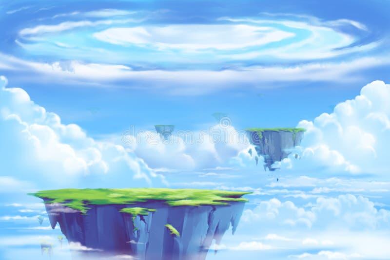 Fantastiska och exotiska Allen Planets Environment: Den sväva ön i molnhavet stock illustrationer