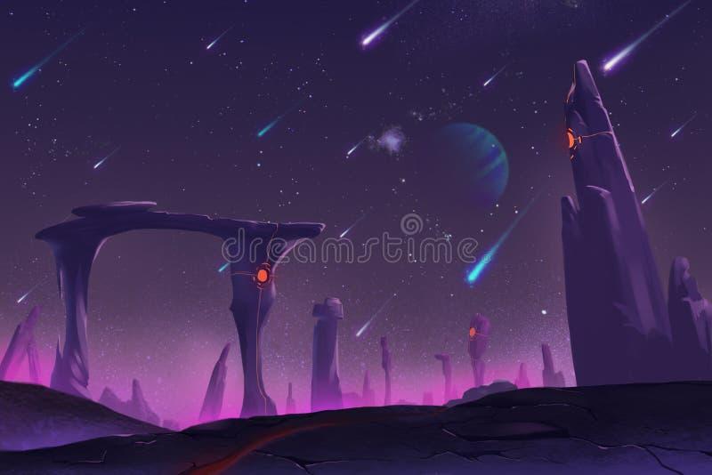 Fantastiska och exotiska Allen Planets Environment: Meteorregn på natten stock illustrationer
