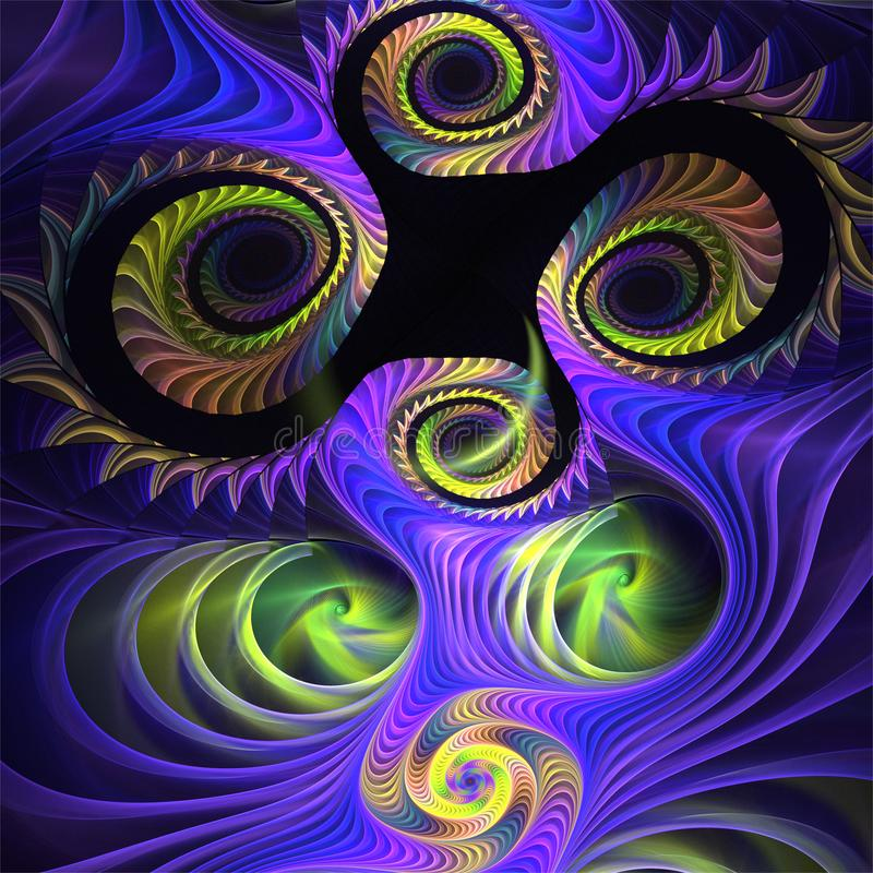 Fantastiska roliga gröna spiral för abstrakt fractalkonst med blålinjen royaltyfri illustrationer