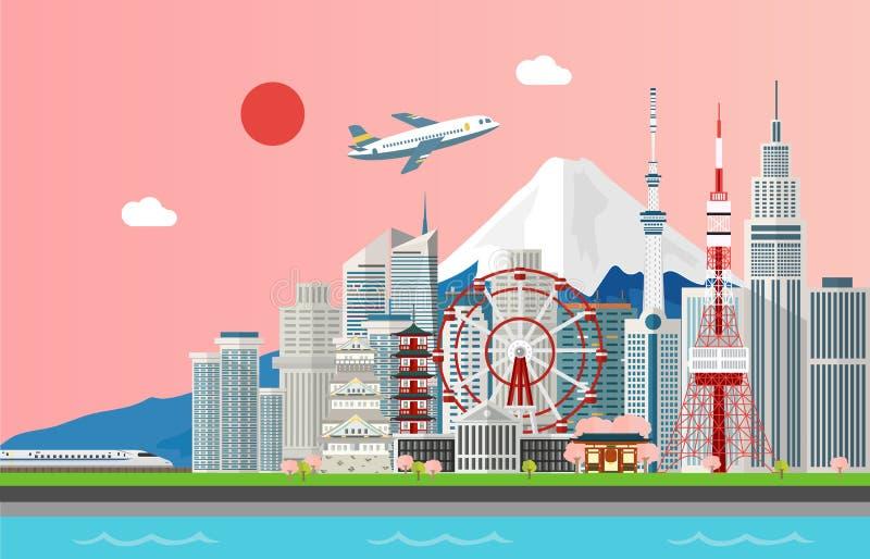 Fantastiska turist- attrations för att resa i den Tokyo Japan illustraen stock illustrationer