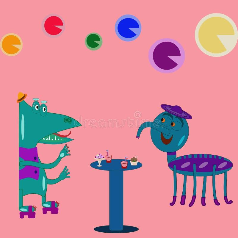 Fantastiska varelser på ett parti stock illustrationer