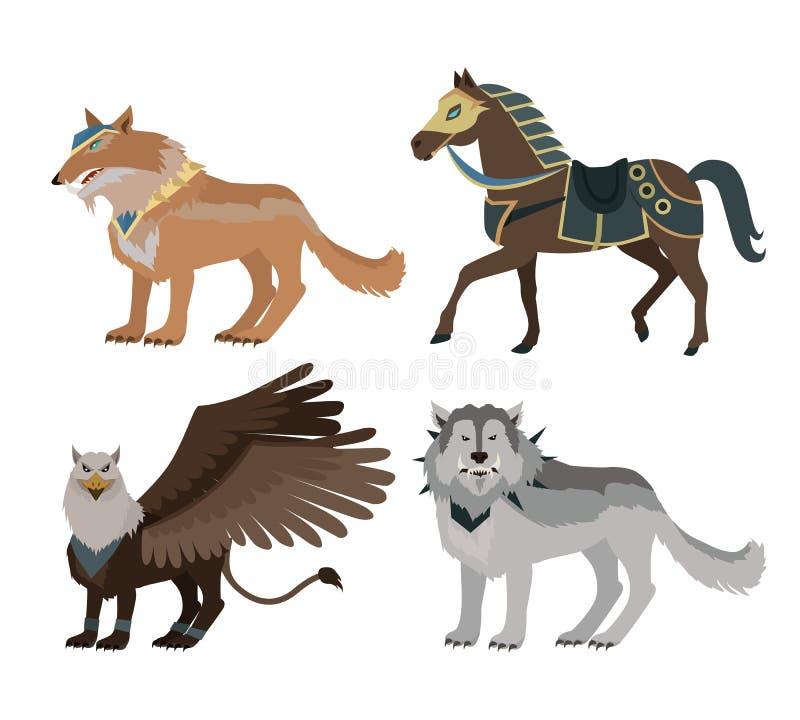 Fantastiska Wolf Vector Illustration i plan design stock illustrationer