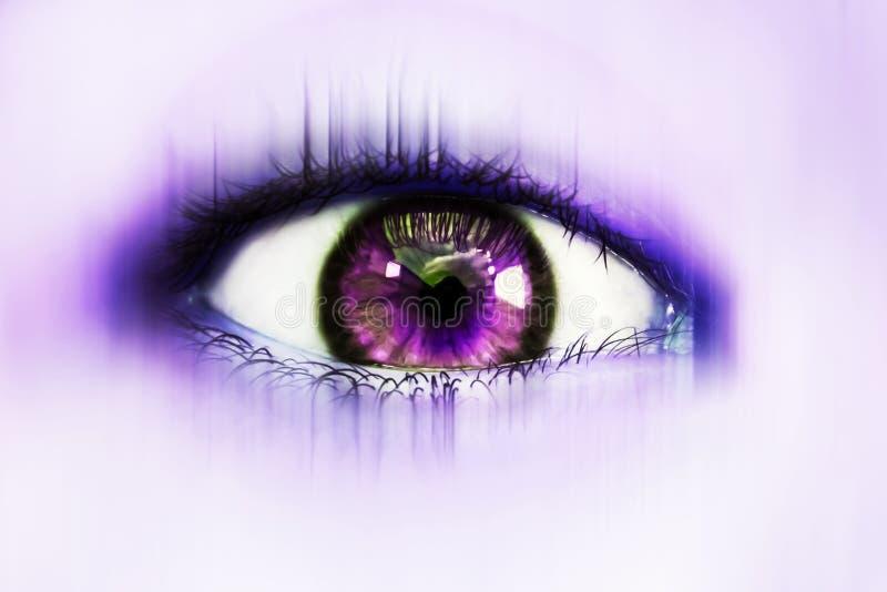 Fantastiskt öga i purpurfärgade signaler fotografering för bildbyråer