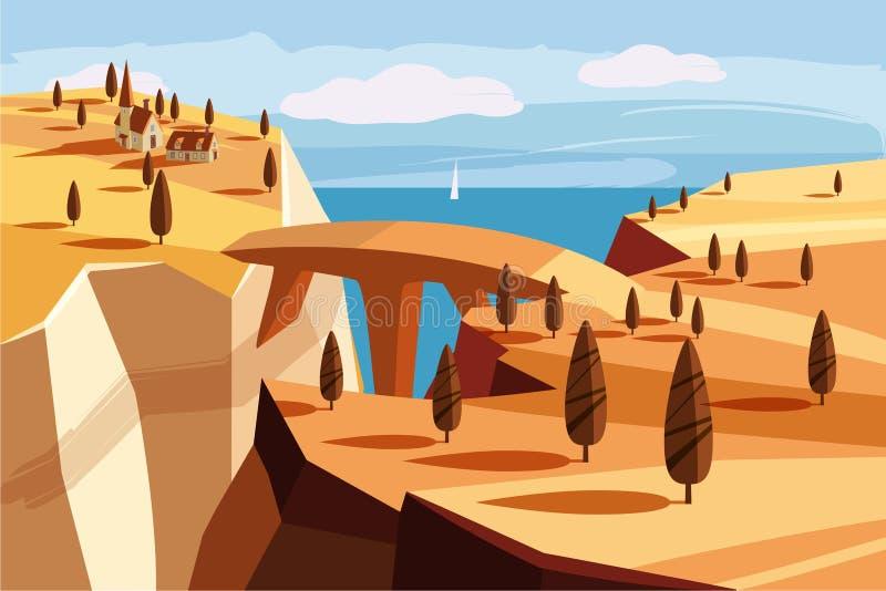 Fantastiskt berglandskap Bro bergby, golfen, träd, hav, hav, tecknad filmstil, vektorillustration vektor illustrationer