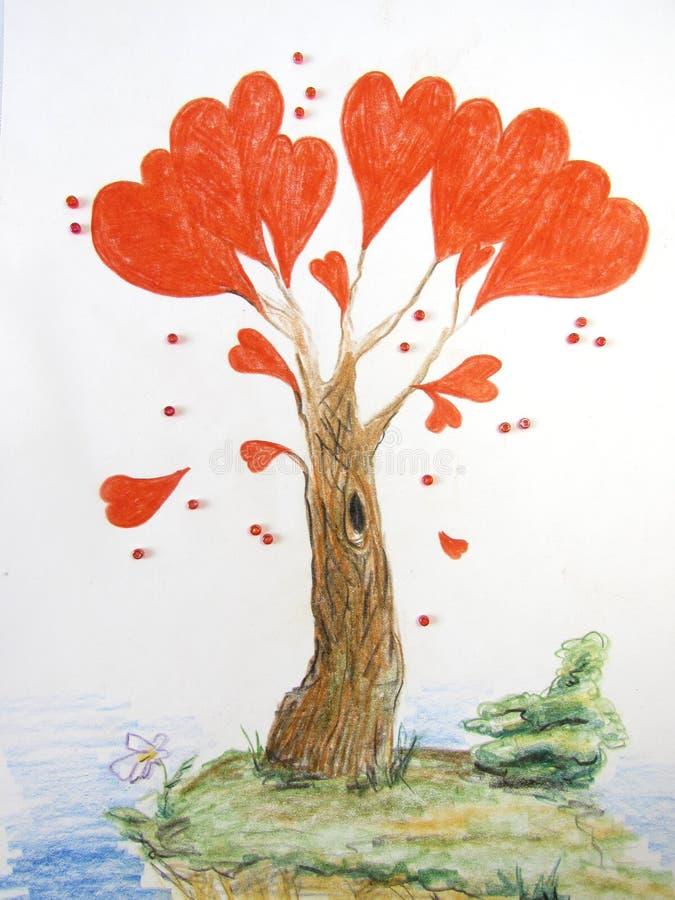 Fantastiskt förälskelseträd med ljusa röda hjärtor i stället för sidor som omges av pärlor vektor illustrationer