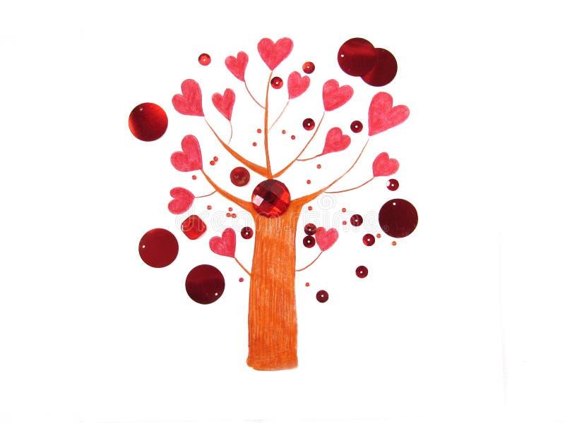 Fantastiskt förälskelseträd med ljusa röda hjärtor i stället för sidor som omges av pärlor och paljetter vektor illustrationer