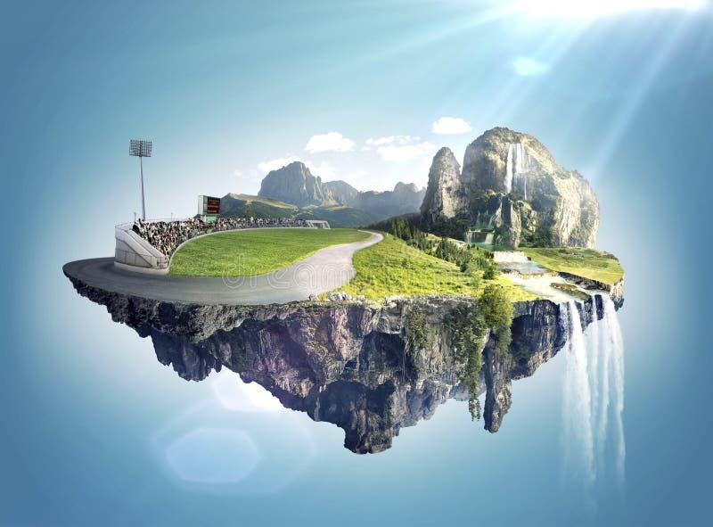 Fantastiskt fantasilandskap med att sväva öar och vatten faller royaltyfria foton