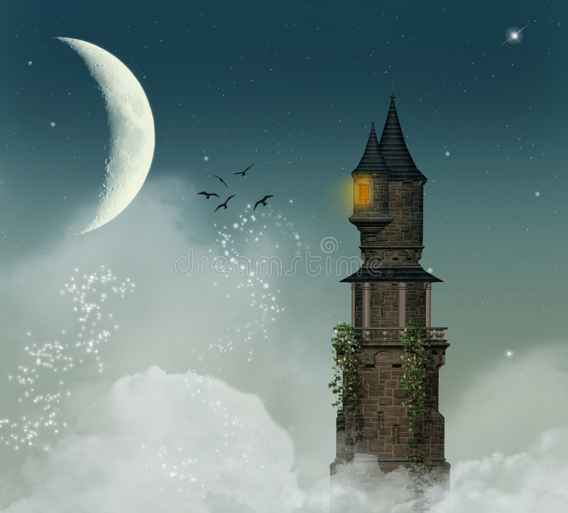 fantastiskt torn stock illustrationer