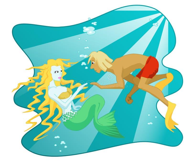 Fantastiskt undervattens- möte royaltyfri illustrationer