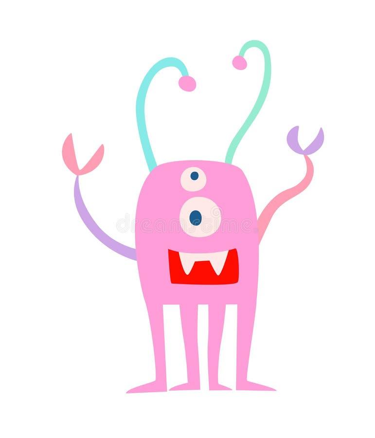 Fantastyczna śmieszna potwora wektoru ilustracja ilustracja wektor