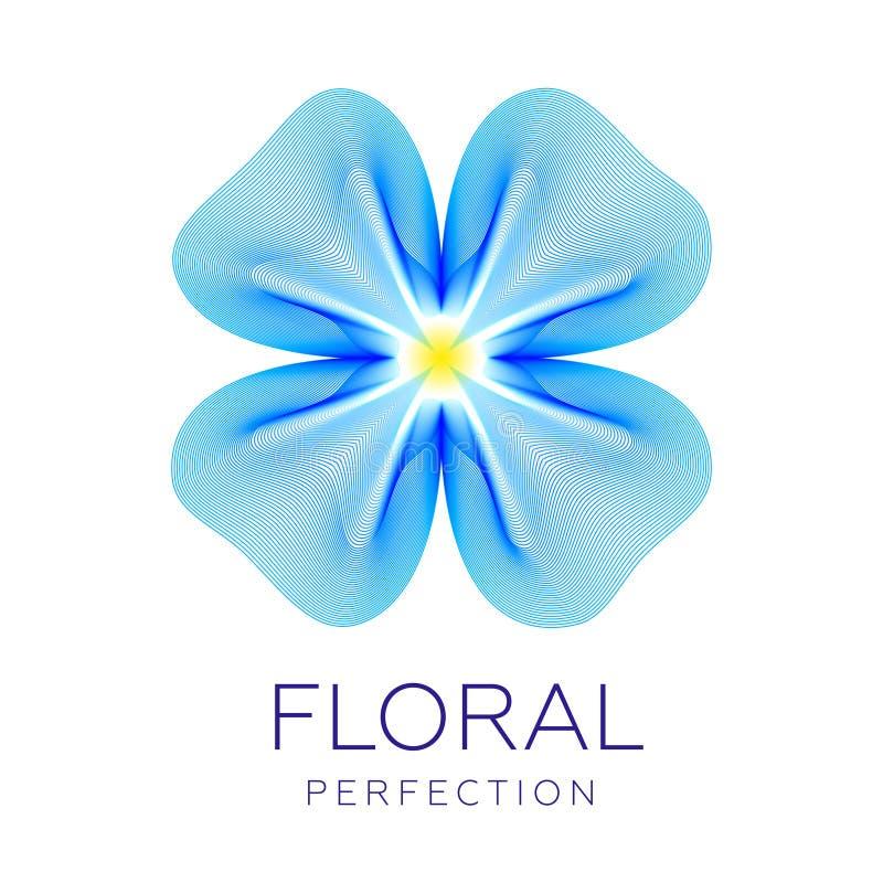 Fantastyczna błękitna bieliźniana kwiat ikona, abstrakcjonistyczny kształt z udziałami kontaminacja wykłada ilustracja wektor