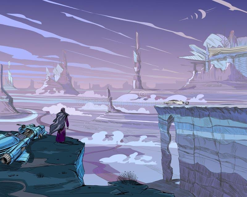 Fantastyczna miasto pustynia Pojęcie sztuki ilustracja Fantastyczni pojazdy, góry, ludzie Ręka rysujący wektorowy pai ilustracja wektor