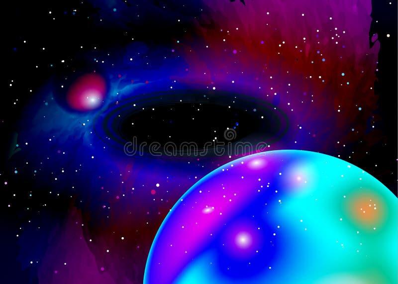 Fantastyczna planeta w głębokiej przestrzeni Gwiazdowy pole w przestrzeni i mgławicy Abstrakcjonistyczny tło wszechświat i benzyn ilustracja wektor