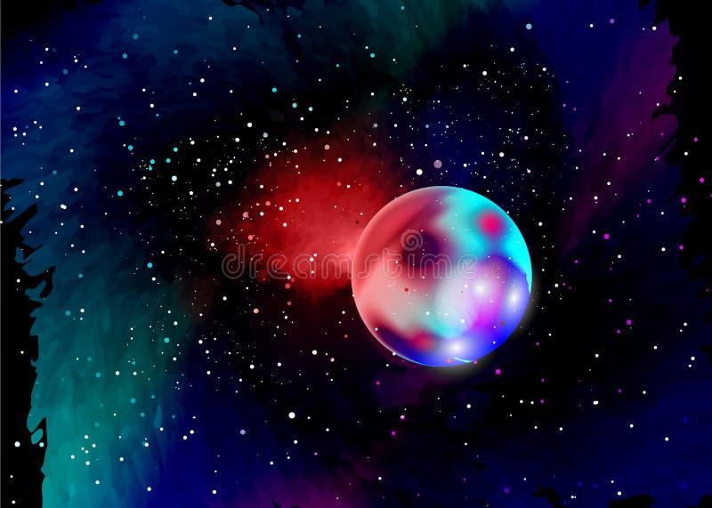 Fantastyczna planeta w głębokiej przestrzeni Gwiazdowy pole w przestrzeni i mgławicy Abstrakcjonistyczny tło wszechświat i benzyn ilustracji