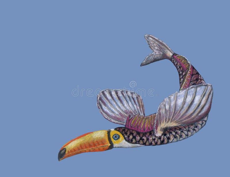 Fantastyczna zwierzęca ryba i pieprzojad wręczamy patroszonego miękkim pastelem royalty ilustracja