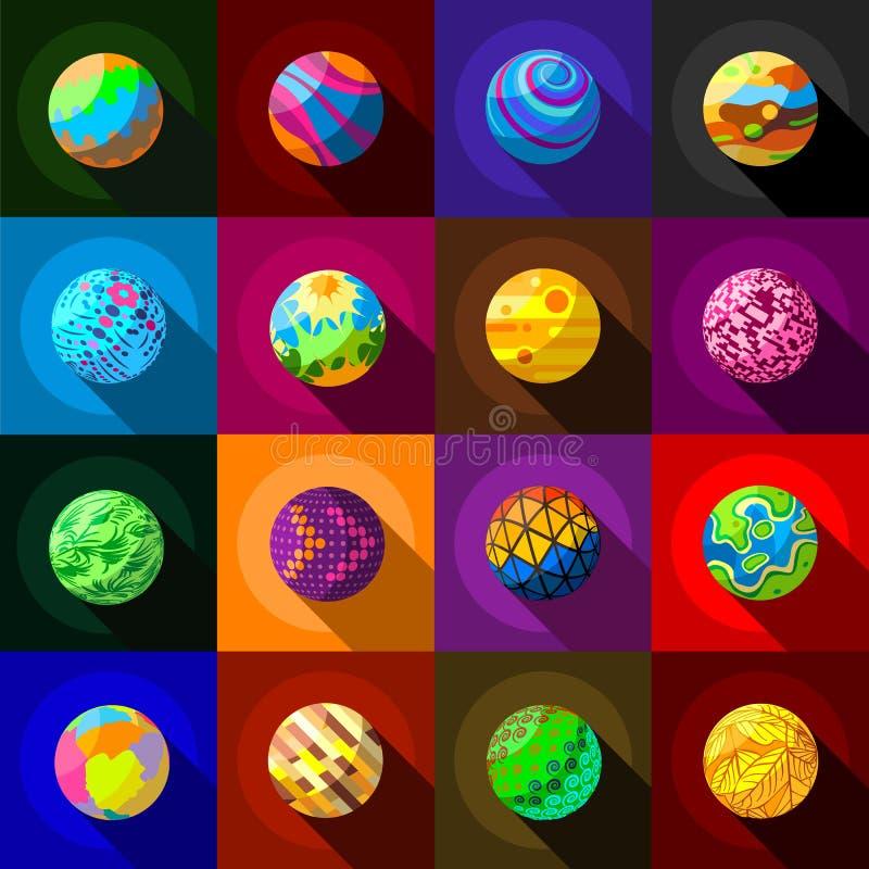 Fantastyczne kolorowe planet ikony ustawiać, mieszkanie styl royalty ilustracja