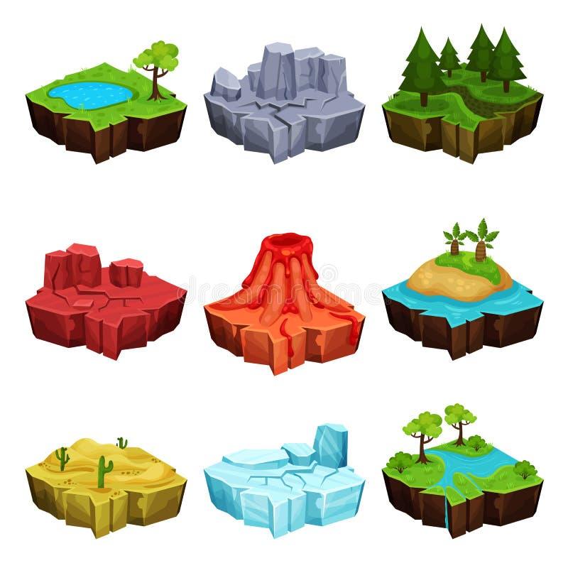 Fantastyczne wyspy dla gemowego projekta setu, pustynia, wulkan, las, lód, jar lokacj wektorowe ilustracje na bielu ilustracja wektor