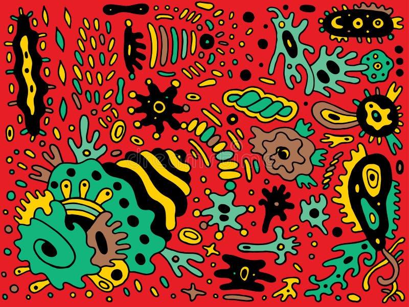 Fantastycznej kreskówki abstrakcjonistyczny doodle Kolorowy kreskowy rysunek Kolor ornamentacyjna sztuka r?wnie? zwr?ci? corel il ilustracja wektor