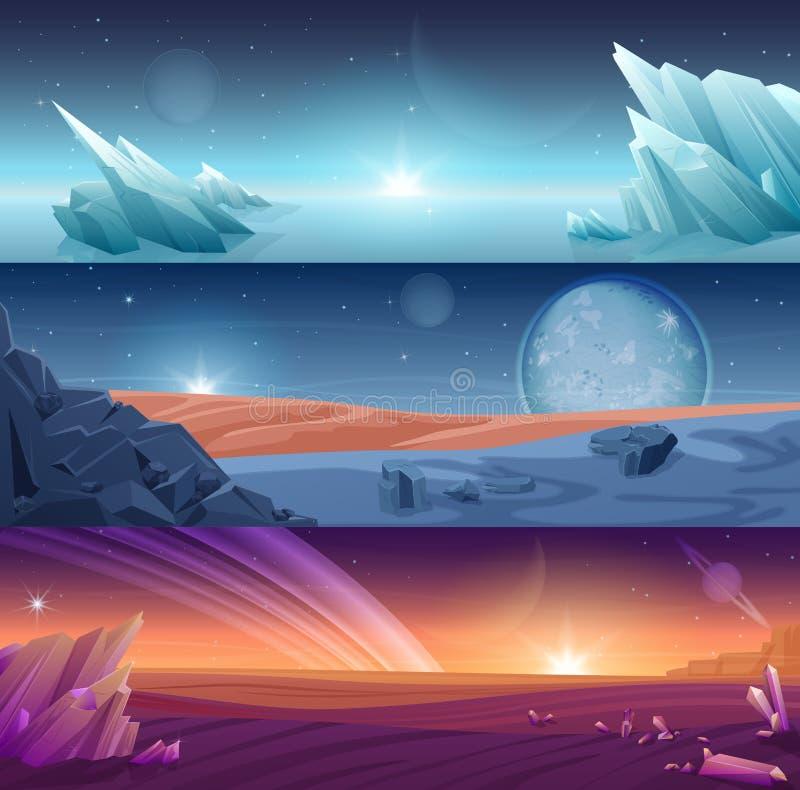 Fantastycznej obcej planety horyzontalni sztandary kształtują teren tło set ilustracja wektor