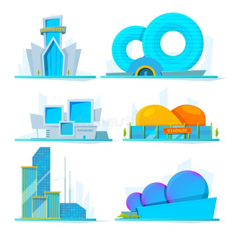 Fantastyczni budynki przyszłość Wektorowi kreskówka obrazki ilustracji