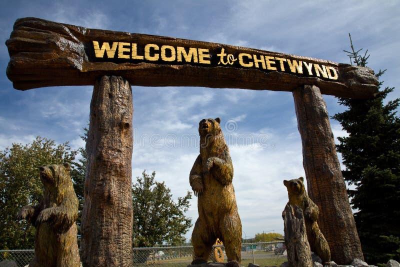 Fantastyczni drewniani cyzelowania lub niedźwiedzie witają gości Chetwynd, BC obrazy royalty free