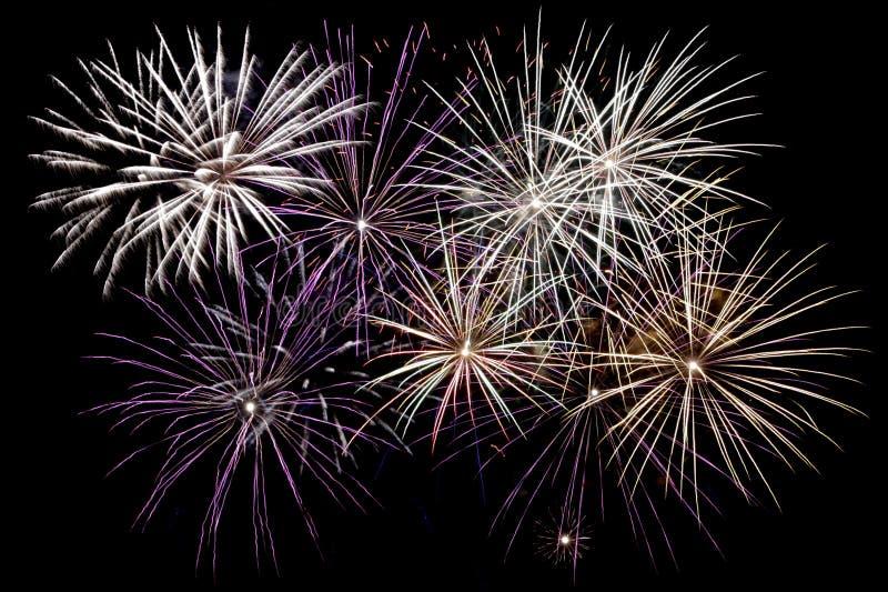 Fantastyczni fajerwerki nad linia horyzontu miasto zdjęcia royalty free