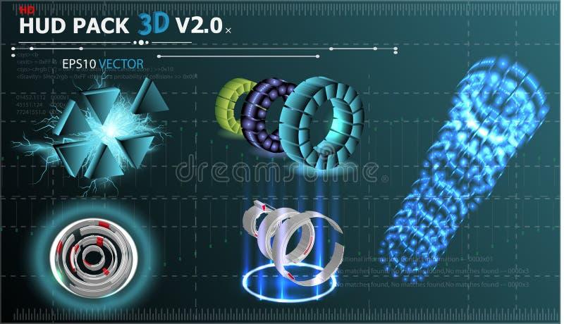 Fantastyczny abstrakcjonistyczny tło z różnymi setu 3d elementami HUD Duży set różnorodni HUD elementy royalty ilustracja